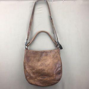 Frye Brown Distressed Leather Hobo Shoulder Bag